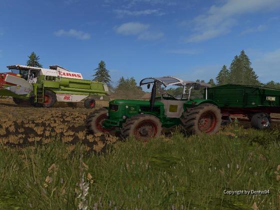 Dominator 88s und Deutz d 80 am Dreschen vom letzten Weizen