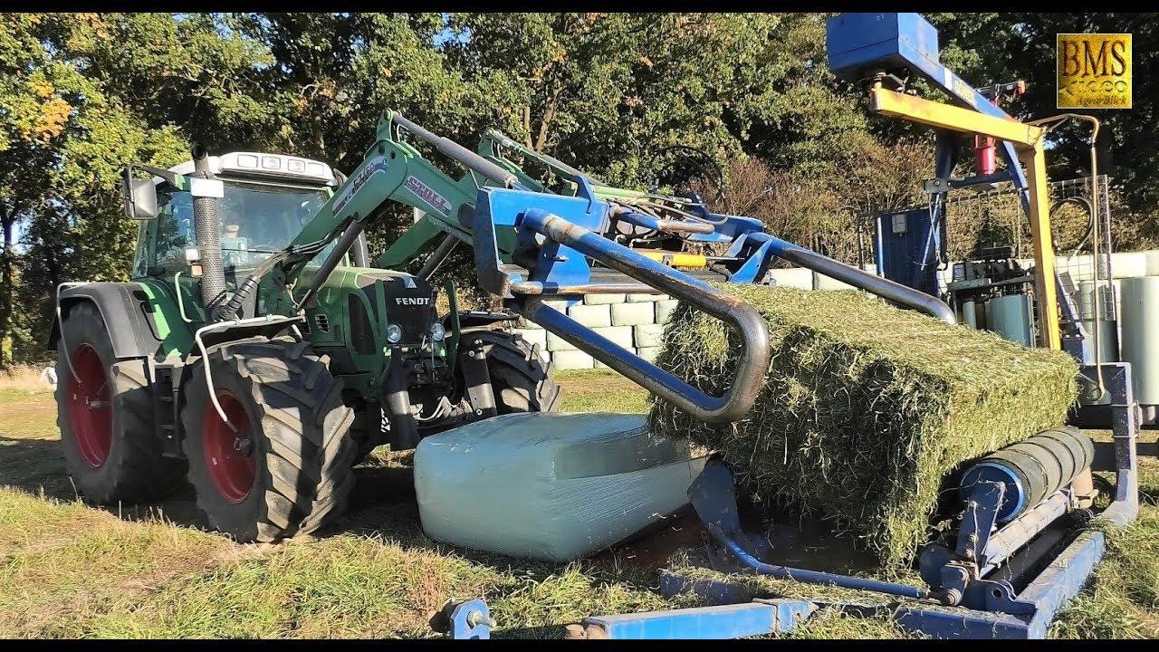 Gras pressen / wickeln mit Case Trecker Krone, Fendt und Göweil / Field grass press and wrap farmer